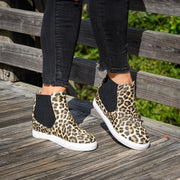 Side Elastic Leopard Wedge Sneakers