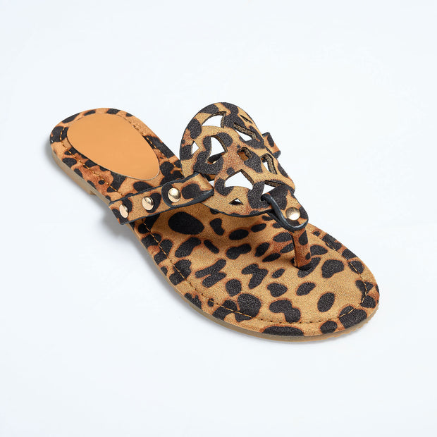 Medallion Leopard Thong Sandals