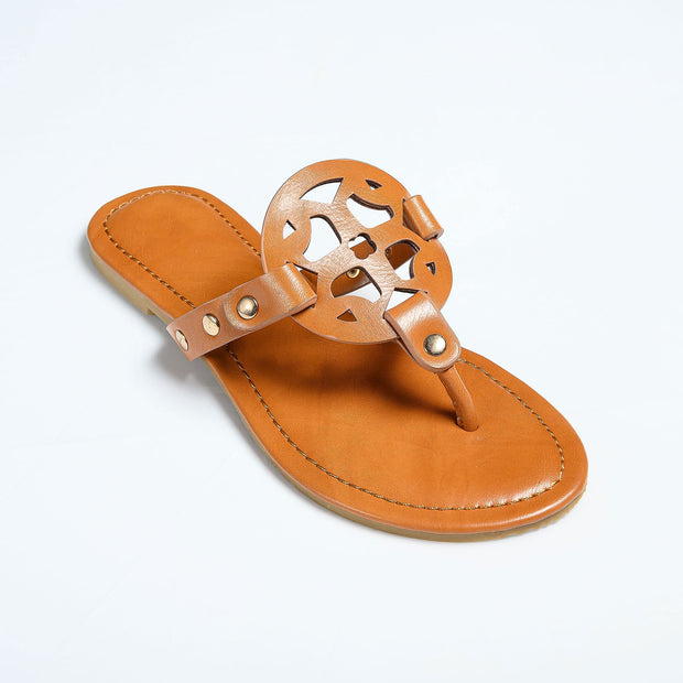 Medallion Tan Thong Sandals
