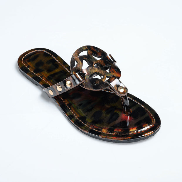 Medallion  Brown Thong Sandals