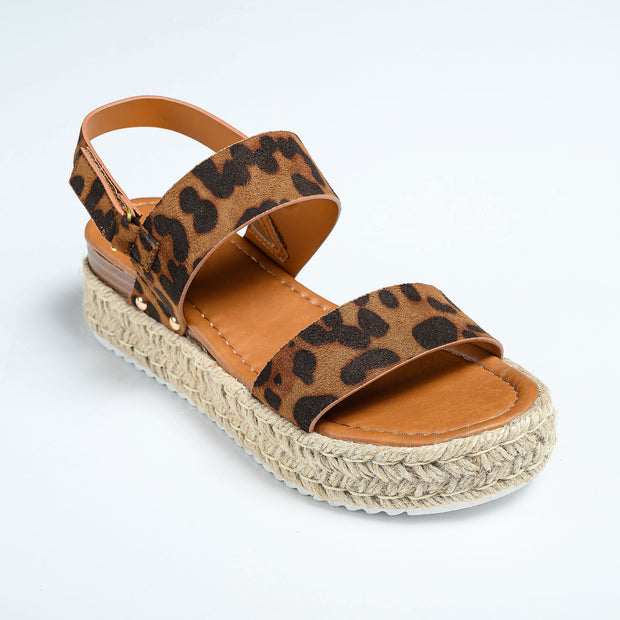 Double Band Leopard Platform Sandals