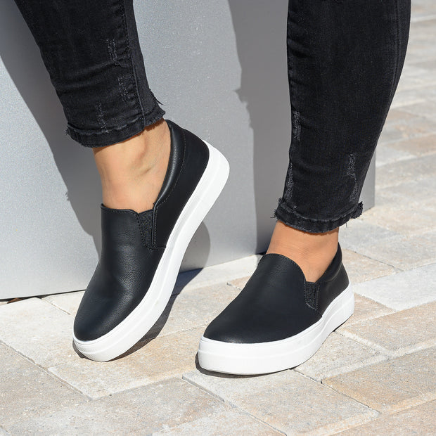 Casual Black Platform Sneakers