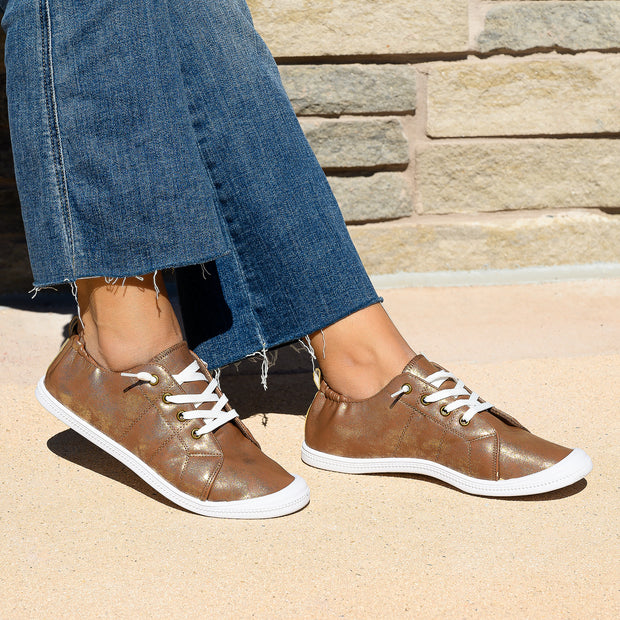 Round Toe Bronze Flat Sneakers