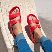 Double Buckle Red Foam Sandals