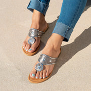Rosetta Pewter Thong Flat Sandals