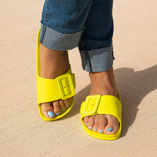 Fiji Neon Yellow Buckle Slide Sandals