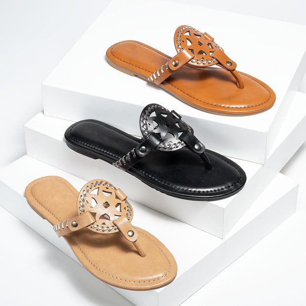 Limit Black Medallion Thong Sandals