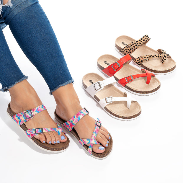 Criss Cross Red Footbed Sandals