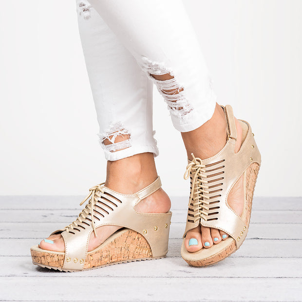 Lace up Wedges Sandals - Gold