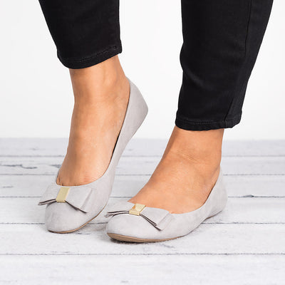 Bow Faux Suede Flats