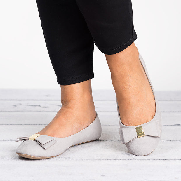 Bow Grey Faux Suede Flats