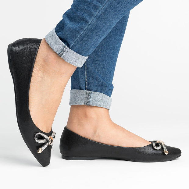Bow Point-Toe Black Flats