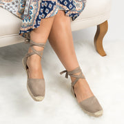 Lace up Espadrille Flats - Clay