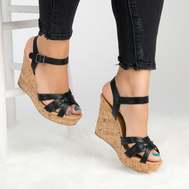 Ankle Strap Black Wedges Sandals
