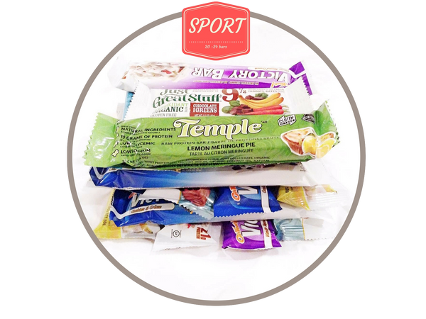 3. Sport Box. 30 - 36 gluten free bars. About $105 in value.
