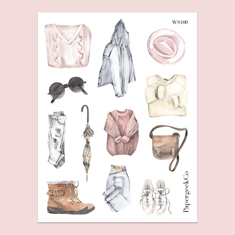 Cozy Fashion Stickers 100 - PapergeekCo