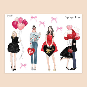Valentine Girls Stickers 107 - PapergeekCo