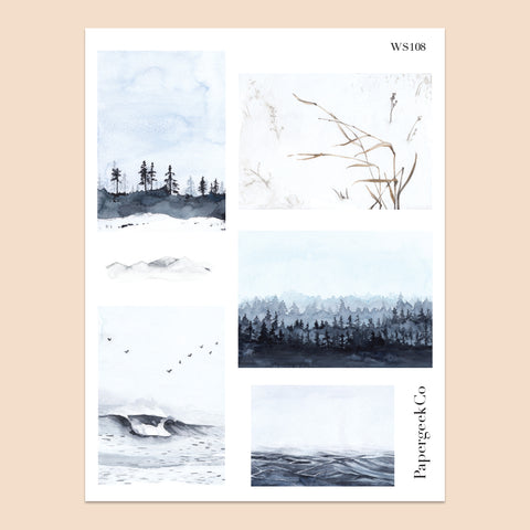 White Nature Landscape Stickers 108