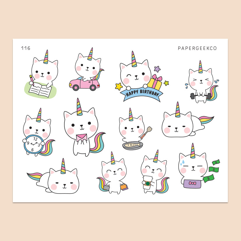 Kittycorn Stickers 116 - PapergeekCo