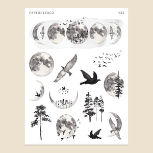 Monochrome Moon Phase Stickers 132 - PapergeekCo