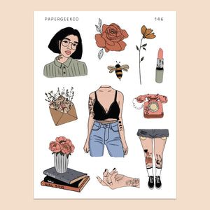 Tattoo Girls Stickers 146 - PapergeekCo