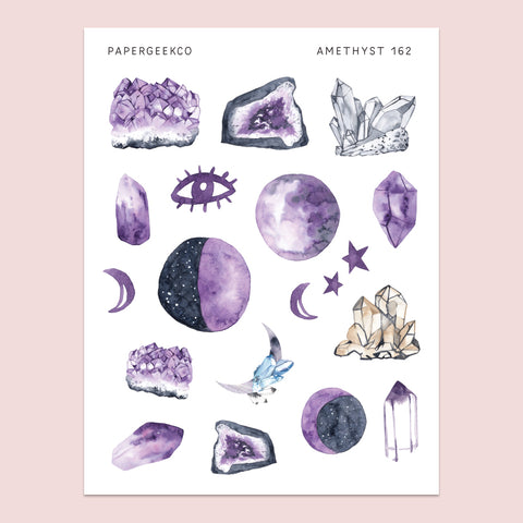 Amethyst Crystal Stickers 162 - PapergeekCo