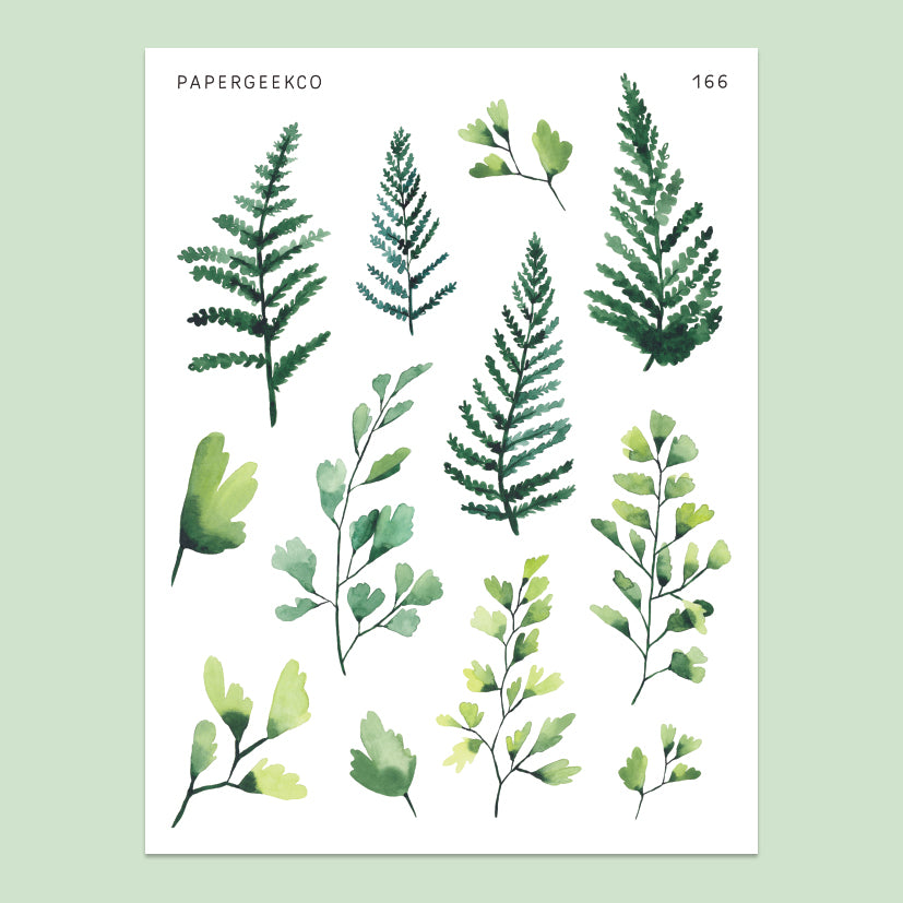Fern Leaf Stickers 166 - Washi Paper - PapergeekCo