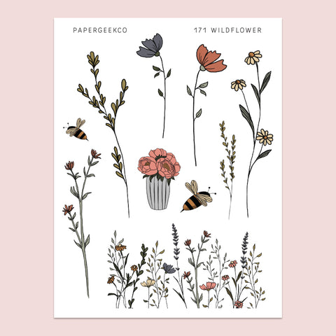 Wildflower Clear Stickers 171 - PapergeekCo