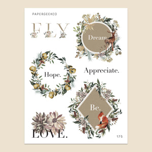 Powerful Word - Floral Crest Stickers 175 - PapergeekCo