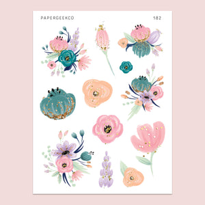 Madeleine Floral Stickers 182 - PapergeekCo