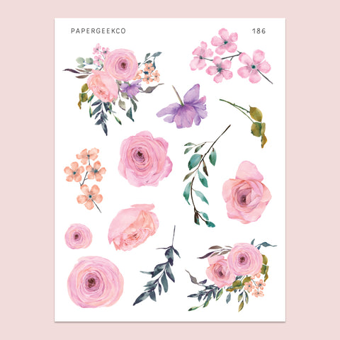 Spring Floral Stickers 186 - PapergeekCo