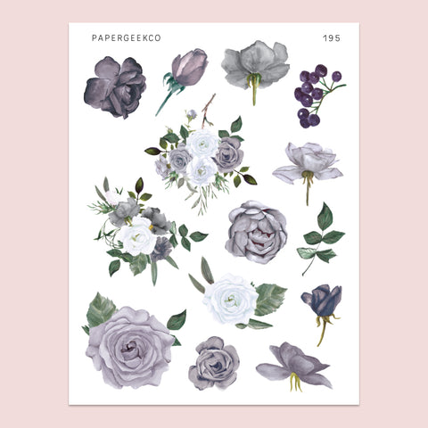 Grey Rose Stickers 195 - PapergeekCo