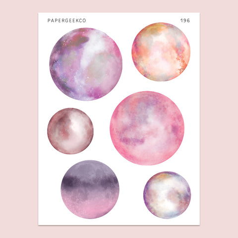 Clear Pink Moon Stickers 196 - PapergeekCo