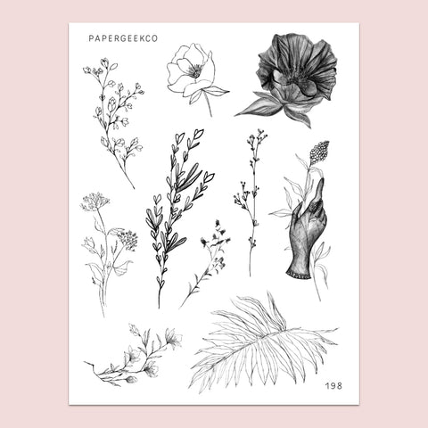 Clear Nature Lineart Floral Stickers 198 - PapergeekCo