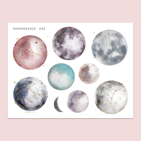 Clear Constellation Moon Stickers 202 - PapergeekCo