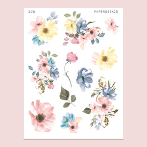 Pastel Spring Floral Stickers 205 - PapergeekCo