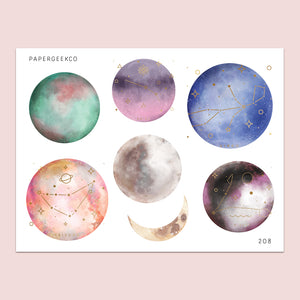 Clear Constellation Moon Stickers 208 - PapergeekCo