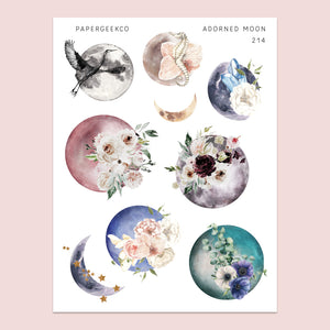 Adorned Moon Stickers 214 - PapergeekCo