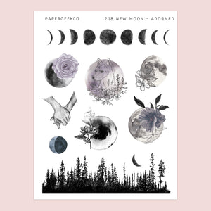 Adorned Moon Stickers 218 - PapergeekCo