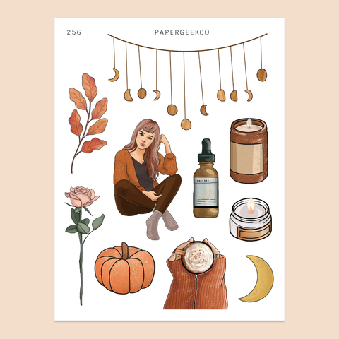 Warm & Cozy - Clear Autumn Stickers 256 - PapergeekCo