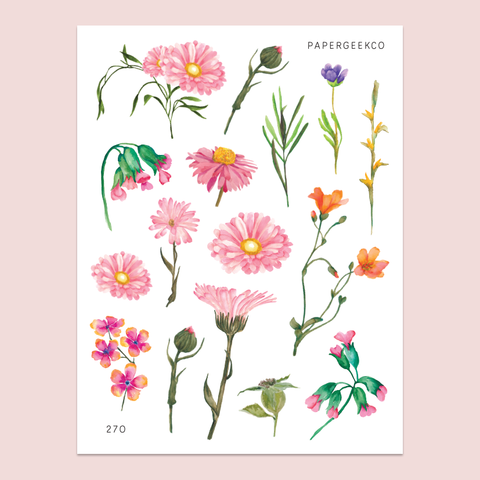 Pretty Bloom Stickers 270 - PapergeekCo