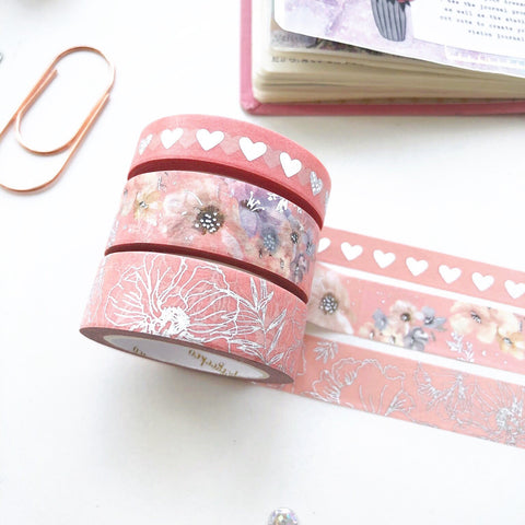 Coral - Summer Meadows Floral Washi Tape set - PapergeekCo