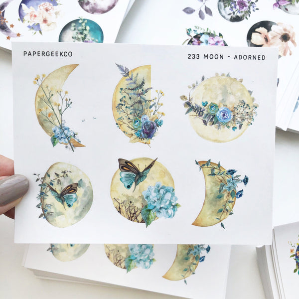 Adorned Moon Stickers 233 - PapergeekCo