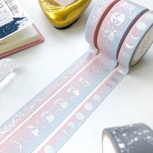 Lunar Magic in Pink Blue Ombre - Moon Phase Washi Tape - PapergeekCo