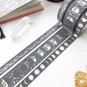 Lunar Magic in Steel Grey - Moon Phase Washi Tape - PapergeekCo