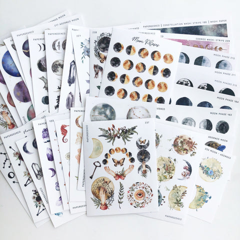 Huge Moon / Celestial Stickers Bundle NO COUPON CODE - PapergeekCo