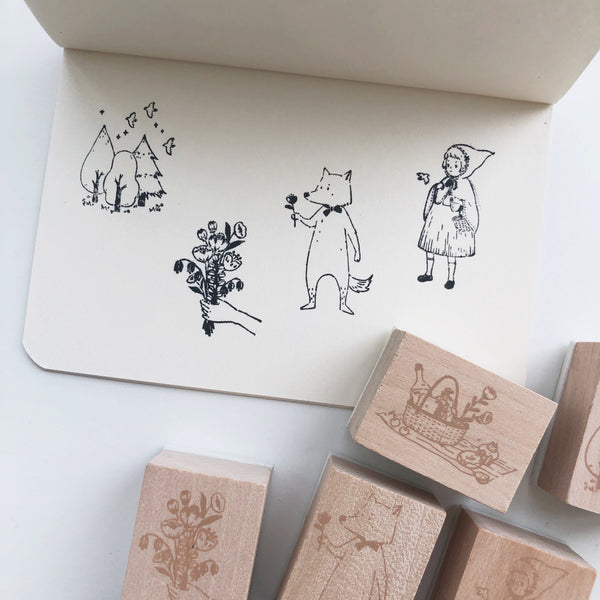 Red Riding Hood Rubber Stamps - set of 5 - PapergeekCo