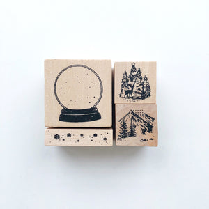 Snow Globe Rubber Stamp set - PapergeekCo