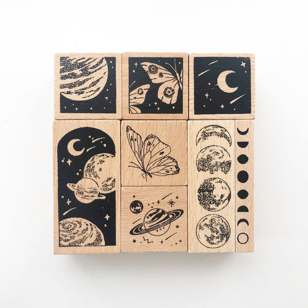 Mysterious Galaxy Rubber Stamps Set of 8 - PapergeekCo