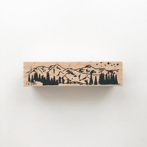 Mountain Landscape Rubber Stamp - PapergeekCo